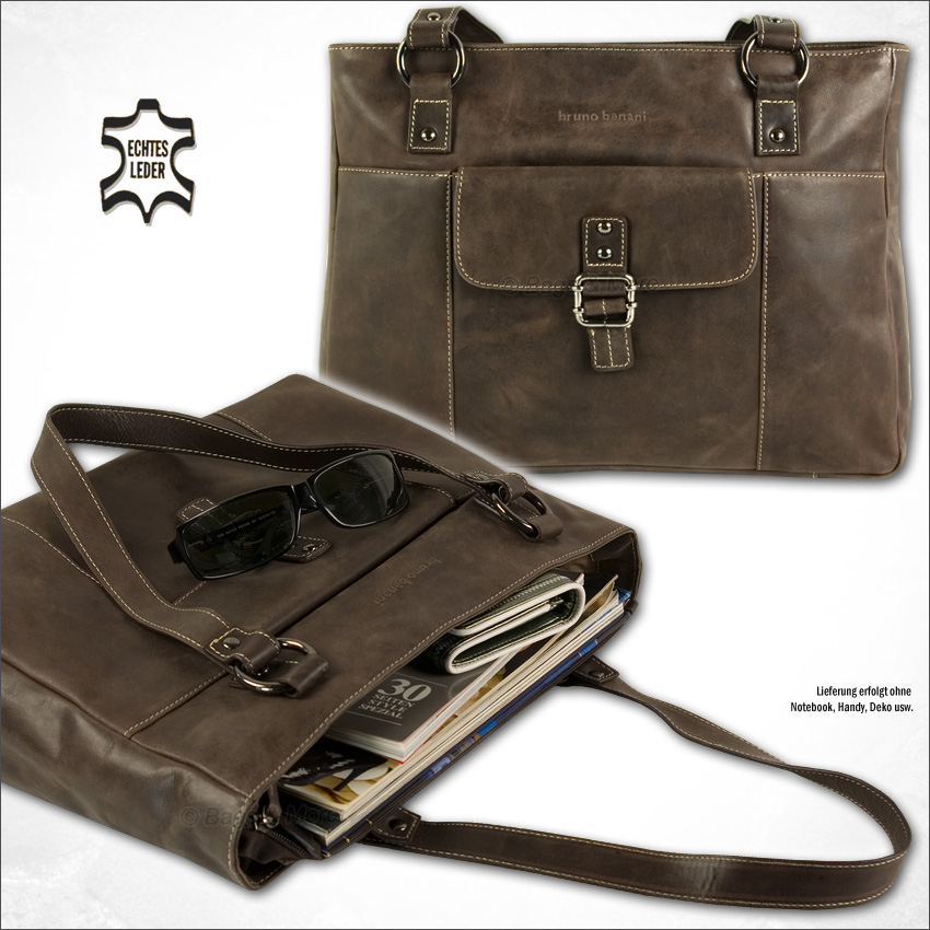 BRUNO BANANI Leder Handtasche Umhängetasche CASUAL SHOPPER Tasche Ledertasche
