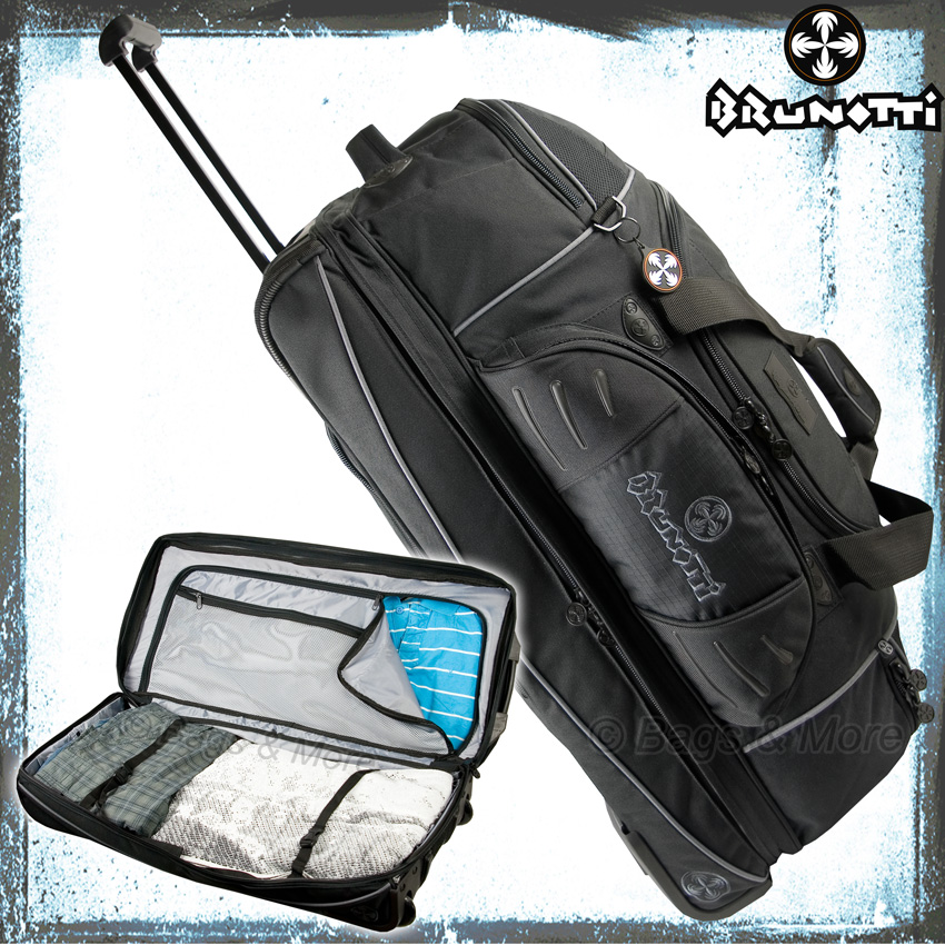 brunotti reisetrolley manie l reisetasche rollentasche koffer trolley schwarz ebay. Black Bedroom Furniture Sets. Home Design Ideas