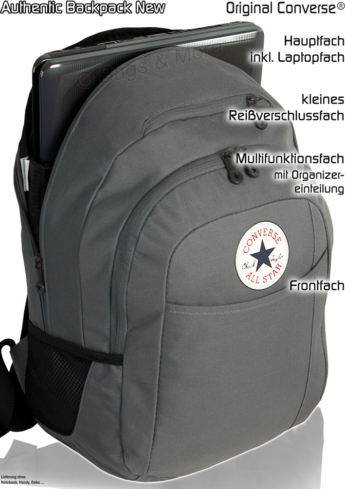 converse schulrucksack authentic notebook rucksack grau. Black Bedroom Furniture Sets. Home Design Ideas