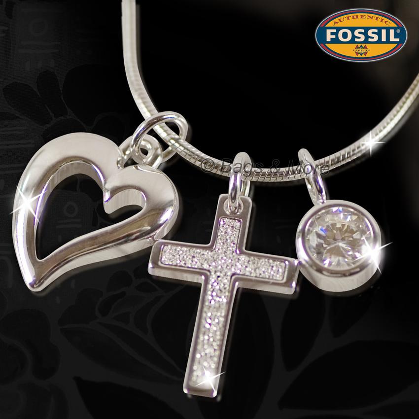 fossil halskette love damen kette collier 925 silber. Black Bedroom Furniture Sets. Home Design Ideas