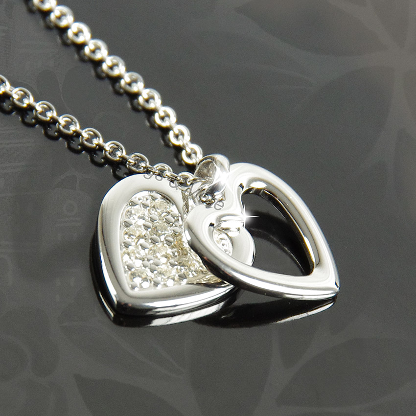 fossil halskette heart damen kette collier silber zirkonia. Black Bedroom Furniture Sets. Home Design Ideas