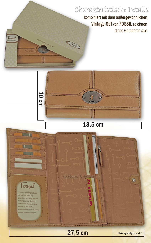 0641ddb13e182 FOSSIL Leder Geldbörse Portemonnaie Geldbeutel MADDOX FLAP CLUTCH ...