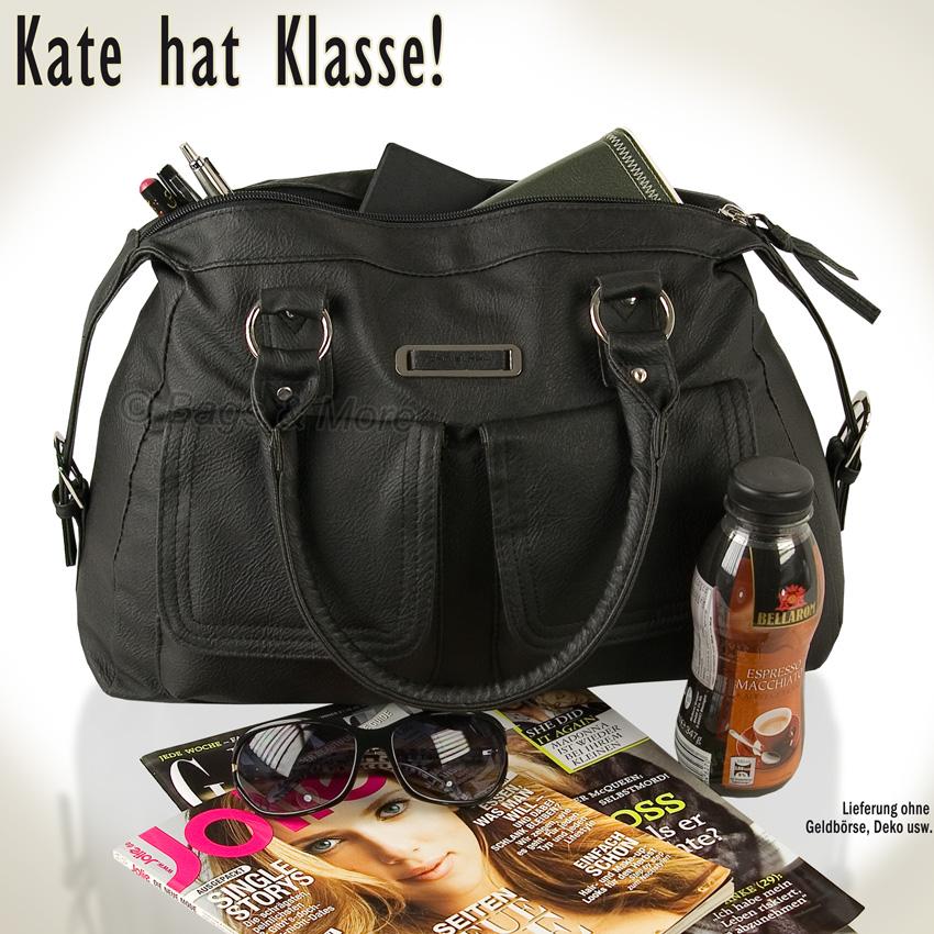 handtasche kate xl schulterta sche shopper tasche henkeltasche neu schwarz ebay. Black Bedroom Furniture Sets. Home Design Ideas