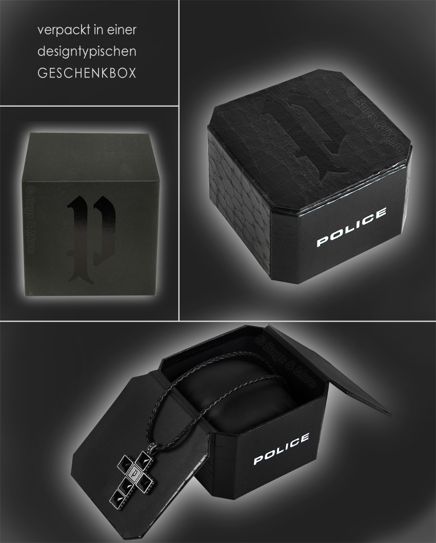 POLICE Leder Halskette Herren Kette Anhänger THOR Schmuck NEU PJ24653PLE//01